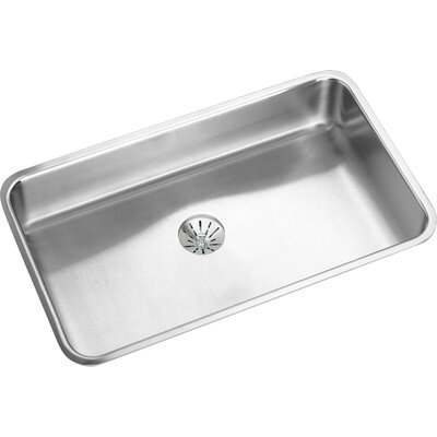 Lustertone 30.5 x 18.5 Undermount Single Bowl Kitchen Sink with Perfect Drain