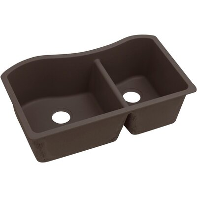 Quatrz Luxe 32.5 x 20 Double Bowl Undermount Kitchen Sink Finish: Chestnut