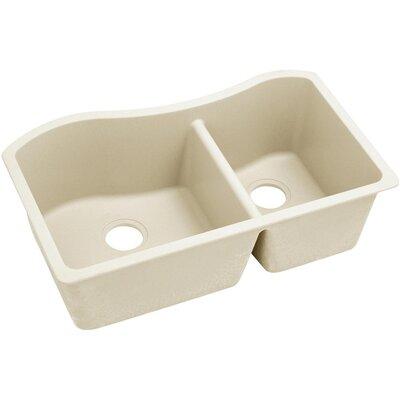 Quatrz Luxe 32.5 x 20 Double Bowl Undermount Kitchen Sink Finish: Parchment