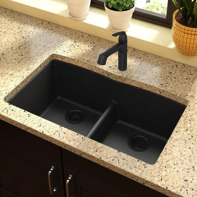 Classic 33 x 19 Double Bowl Kitchen Sink Finish: Black