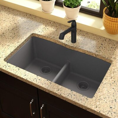 Quartz Classic 33 x 19 Double Basin Undermount Kitchen Sink with Aqua Divide Finish: Greystone
