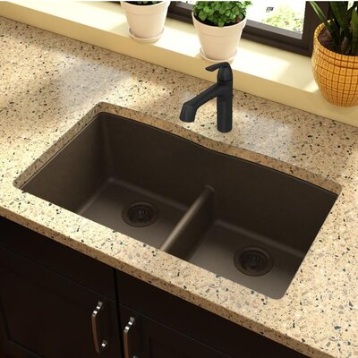 Quartz Classic 33 x 19 Double Basin Undermount Kitchen Sink with Aqua Divide Finish: Mocha