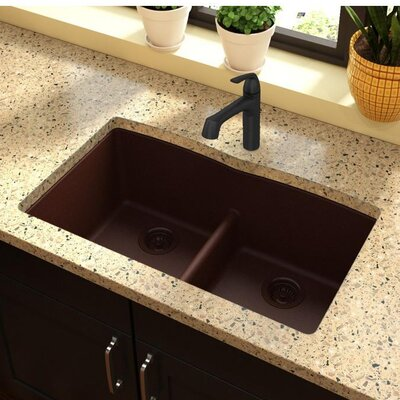 Classic 33 x 19 Double Bowl Kitchen Sink Finish: Pecan