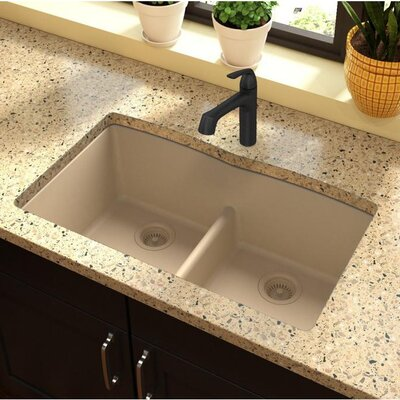 Classic 33 x 19 Double Bowl Kitchen Sink Finish: Sand