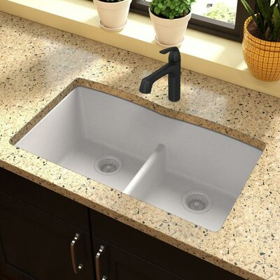 Classic 33 x 19 Double Bowl Kitchen Sink Finish: White