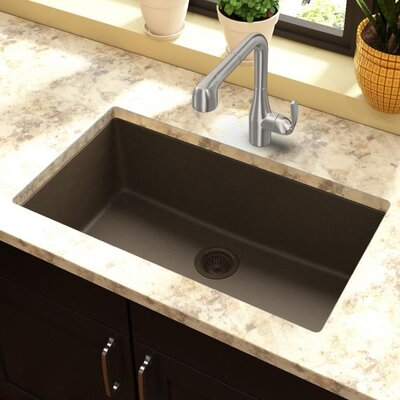 Classic 33 x 18.4 Single Bowl Kitchen Sink Finish: Mocha