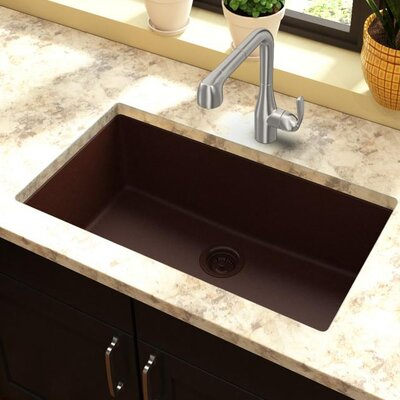 Classic 33 x 18.4 Single Bowl Kitchen Sink Finish: Pecan