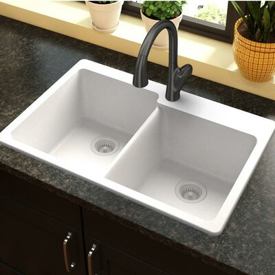 Quartz Classic 33 x 22 Double Basin Top Mount Kitchen Sink Finish: White