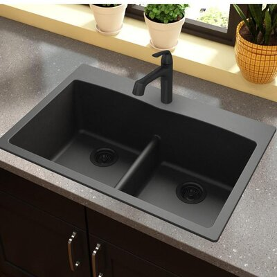 Quartz Classic 33 x 22 Double Basin Top Mount Kitchen Sink with Aqua Divide Finish: Black