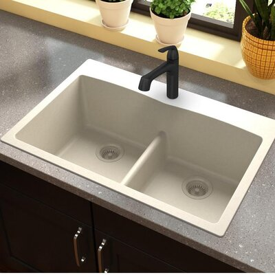 Quartz Classic 33 x 22 Double Basin Top Mount Kitchen Sink with Aqua Divide Finish: Bisque