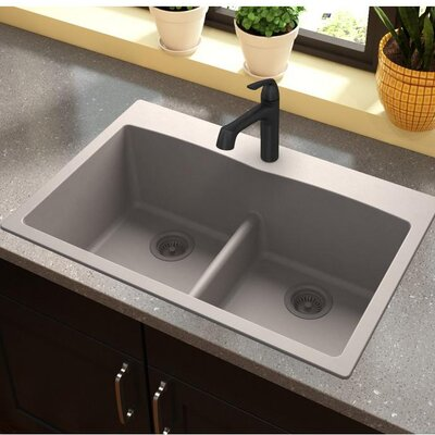 Quartz Classic 33 x 22 Double Basin Top Mount Kitchen Sink with Aqua Divide Finish: Greige