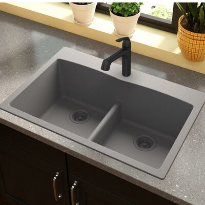Quartz Classic 33 x 22 Double Basin Top Mount Kitchen Sink with Aqua Divide Finish: Greystone