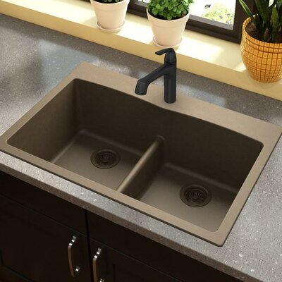 Classic 33 x 22 Double Bowl Top Kitchen Sink Finish: Mocha