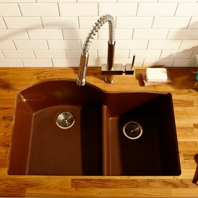 Quartz Classic 33 x 22 Double Basin Top Mount Kithen Sink with Aqua Divide Finish: Pecan