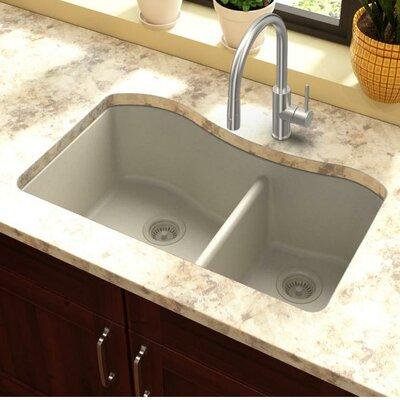 Classic 32.5 x 20 Double Bowl Kitchen Sink Finish: Bisque