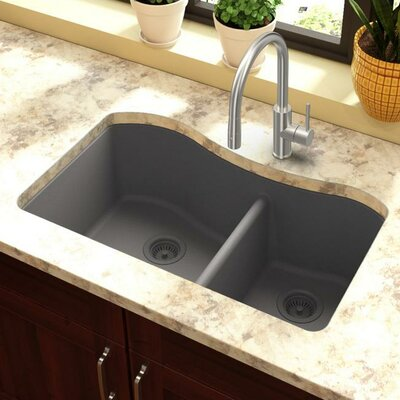 Classic 32.5 x 20 Double Bowl Kitchen Sink Finish: Greystone
