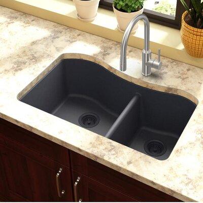 Quartz Classic 32.5 x 20 Double Basin Undermount Kitchen Sink Finish: Dusk Gray