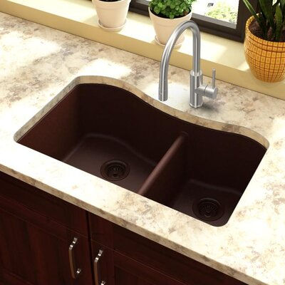 Classic 32.5 x 20 Double Bowl Kitchen Sink Finish: Pecan