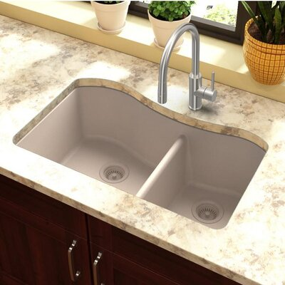 Classic 32.5 x 20 Double Bowl Kitchen Sink Finish: Putty