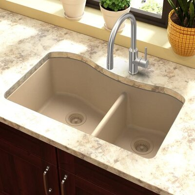 Quartz Classic 32.5 x 20 Double Basin Undermount Kitchen Sink Finish: Sand