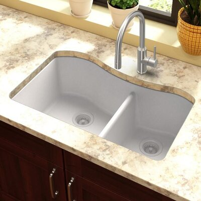 Quartz Classic 32.5 x 20 Double Basin Undermount Kitchen Sink Finish: White