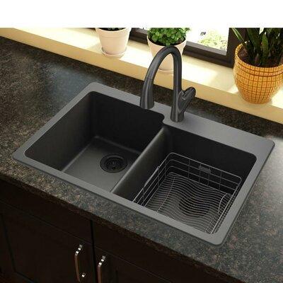 Quartz Classic 33 x 22 Double Bowl Top Mount Kitchen Sink Finish: Black