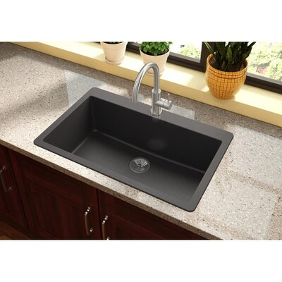 Quartz Luxe 33 x 21 Drop-In Kitchen Sink Finish: Caviar