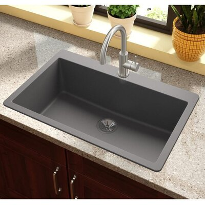 Quatrz Luxe 33 x 20.87 Single Bowl Top Mount Kitchen Sink Finish: Charcoal