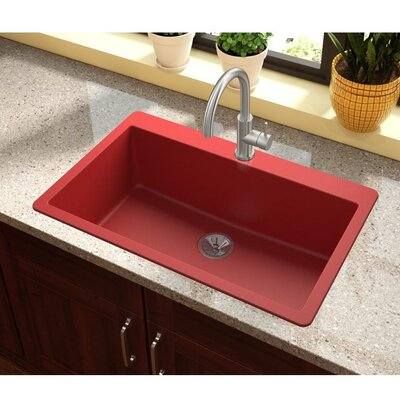 Quartz Luxe 33 x 21 Drop-In Kitchen Sink Finish: Maraschino