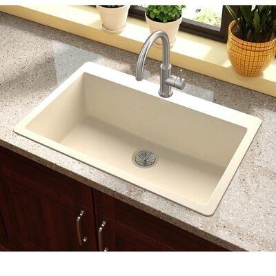 Quartz Luxe 33 x 21 Drop-In Kitchen Sink Finish: Parchment