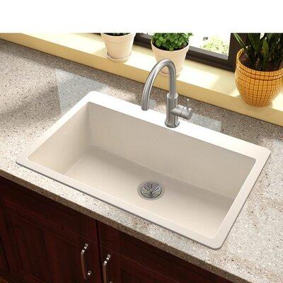 Quartz Luxe 33 x 21 Drop-In Kitchen Sink Finish: Ricotta