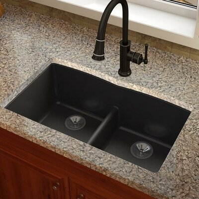 Quatrz Luxe 33 x 19 Double Bowl Undermount Kitchen Sink Finish: Caviar