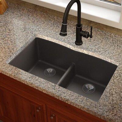 Quatrz Luxe 33 x 19 Double Bowl Undermount Kitchen Sink Finish: Chestnut