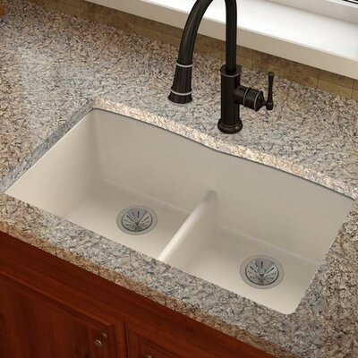 Quatrz Luxe 33 x 19 Double Bowl Undermount Kitchen Sink Finish: Ricotta