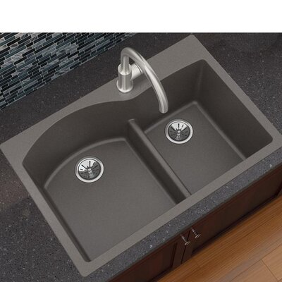 Quartz Luxe 33 x 22 Double Basin Drop-In Kitchen Sink Finish: Chestnut
