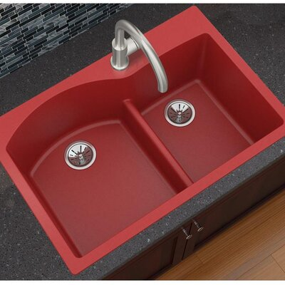 Quartz Luxe 33 x 22 Double Basin Drop-In Kitchen Sink Finish: Maraschino