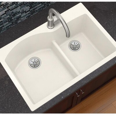 Quatrz Luxe 33 x 22 Double Bowl Top Mount Kitchen Sink Finish: Ricotta