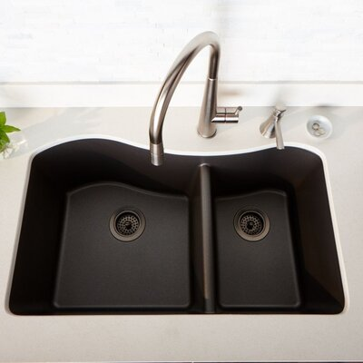 Quartz Luxe 33 x 20 Double Basin Undermount Kitchen Sink Finish: Caviar