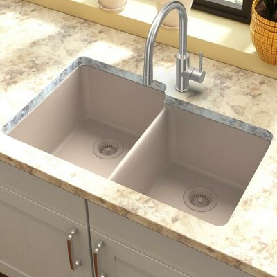 Classic 33 x 20.5 Double Bowl Kitchen Sink Finish: Putty