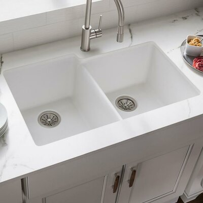 Quartz Classic 33 x 21 Double Basin Undermount Kitchen Sink Finish: White