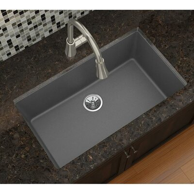 Quatrz Luxe 33 x 18.43 Single Bowl Dual Mount Kitchen Sink Finish: Charcoal