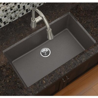 Quatrz Luxe 33 x 18.43 Single Bowl Dual Mount Kitchen Sink Finish: Chestnut