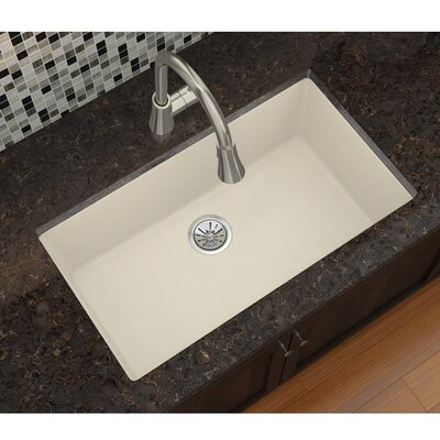 Quatrz Luxe 33 x 18.43 Single Bowl Dual Mount Kitchen Sink Finish: Parchment
