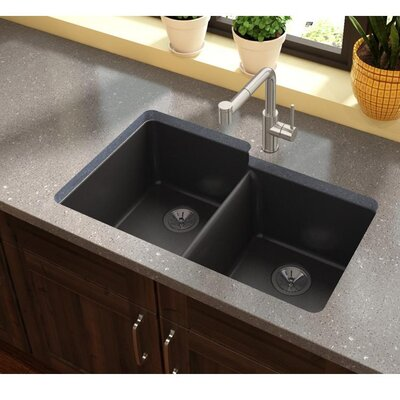 Quatrz Luxe 33 x 20.5 Double Bowl Undermount Kitchen Sink Finish: Caviar