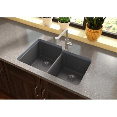 Quatrz Luxe 33 x 20.5 Double Bowl Undermount Kitchen Sink Finish: Charcoal