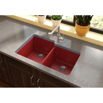 Quatrz Luxe 33 x 20.5 Double Bowl Undermount Kitchen Sink Finish: Maraschino