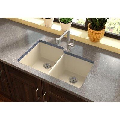 Quatrz Luxe 33 x 20.5 Double Bowl Undermount Kitchen Sink Finish: Parchment
