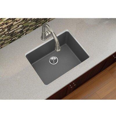 Quartz Luxe 25 x 18.5 Single Bowl Dual Mount Kitchen Sink Finish: Charcoal