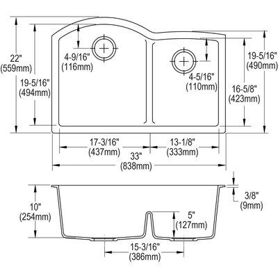 Classic Offset 33 x 22 Double Basin Undermount Kitchen Sink Finish: Slate
