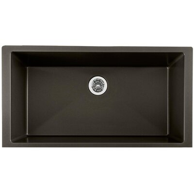 Quartz Luxe 36 x 19 Single Bowl Undermount Kitchen Sink Finish: Charcoal